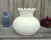 Antique MILK GLASS Fenton Hobnail Parlor Lamp SHADE - for 7 quot fitter - Replacement Globe Light Lampshade - Ruffled Fluted Flared Top