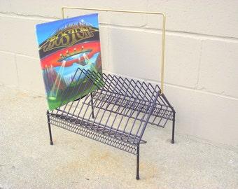 Record Rack Vinyl Music Album Holder Storage   Mid Century Modern HEAVY  DUTY   Shelf Metal   Atomic Black   Gold Handle   Rubber Feet