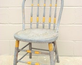 Bentwood Spindle Back Chair - Antique Windsor Primitive Rustic Farmhouse Chic - Old pickled Shabby paint - Country Cottage Farm