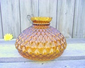 Antique Amber Glass Fenton Quilted Parlor Lamp SHADE Globe - for 10 quot fitter - Replacement Globe Light Lampshade - Diamond Crimped Flared Top