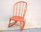 Antique Bentwood Spindle Back Rocking Chair - Windsor Primitive Rustic Farmhouse Chic Amber Brown Shabby Paint Wood Rocker Seat Farm Decor