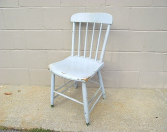 Antique Single Plank Bottom Chair   Primitive Rustic Farmhouse Chic   Old  Pale Blue Shabby Paint   Kitchen Dining Parlor   Painted Wedding