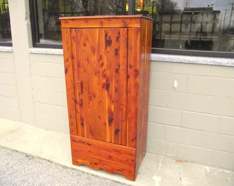 Genuine Solid CEDAR KINCAID Armoire Wardrobe Closet With Single Door   Full  Length   1940u0027s   Antique Clothes Storage Wood   Country Rustic