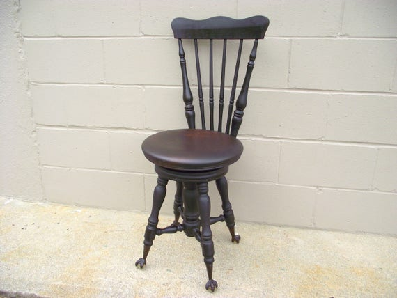 image 0 - Antique Piano Stool Chair Eagle Claw Glass Ball Feet Solid Etsy