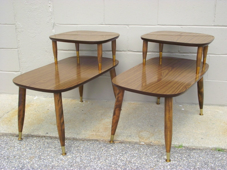 3dd829eb8a714 Pair Mid Century Modern 2 Tier Step Back End Tables Atomic