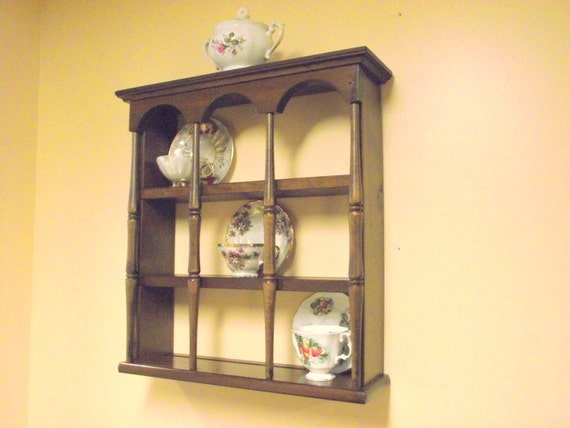 Wood 3 Tier Display Teacup Tea Cup And Saucer Curio Wall