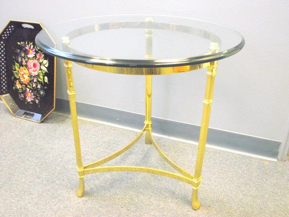 Round Labarge Style Side End Table Solid Brass Glass Top Etsy