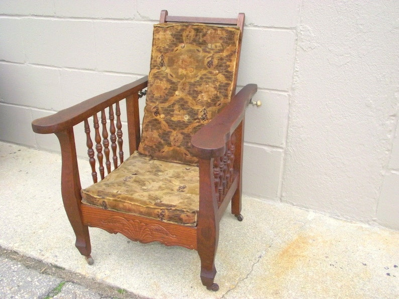 Miraculous Sale Antique Morris Chair Child Oak Original Velvet Excelsior Cushions And Finish Adjustable Reclining Back Armchair Childs Children Gamerscity Chair Design For Home Gamerscityorg