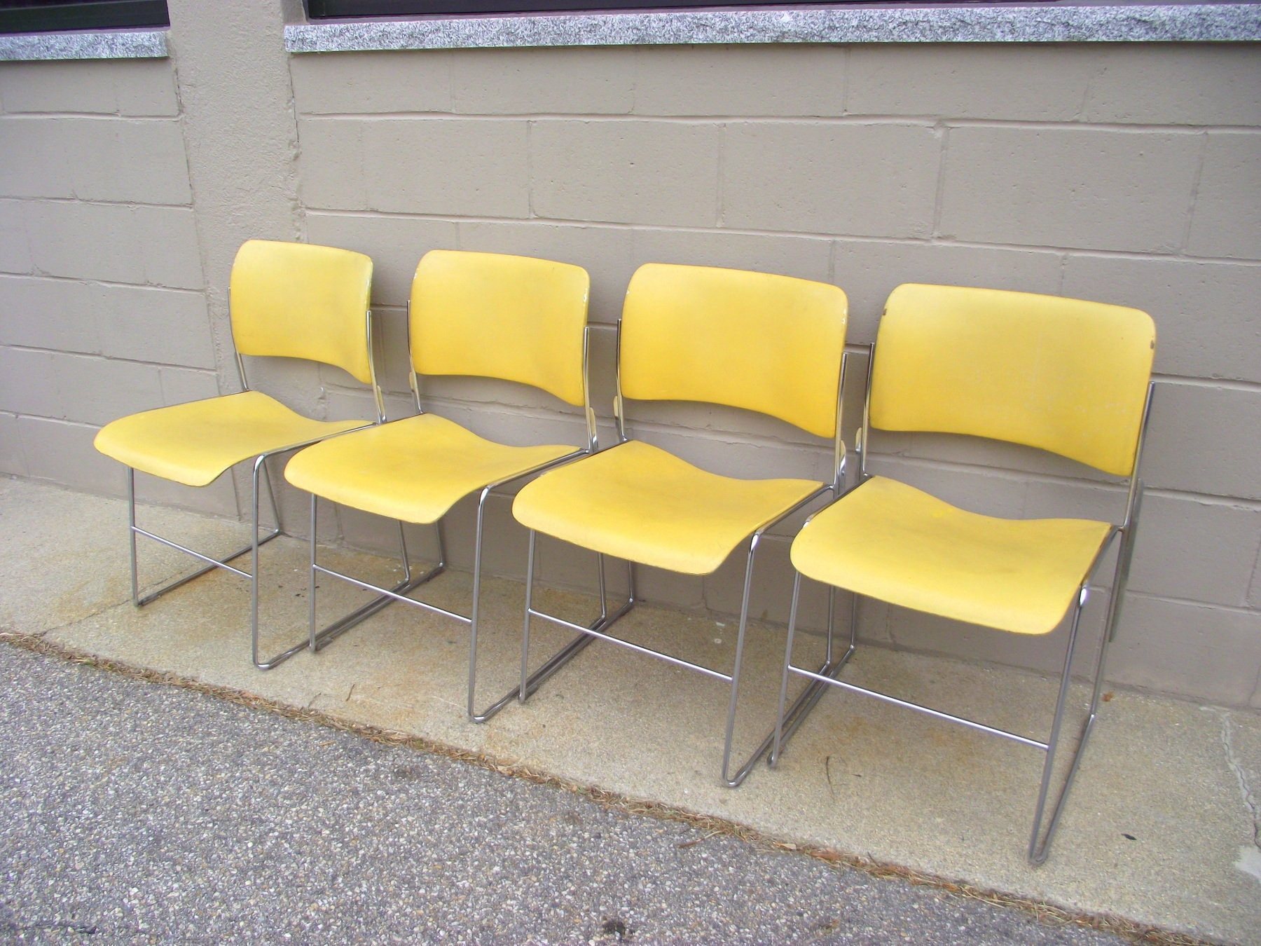 4 Vintage David Rowland Chairs 40 4 Stacking Office Chairs All Original Rare Yellow Chrome Industrial Stacking Mid Century Dining