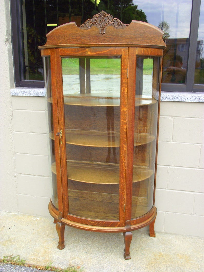 Antique Oak China Hutch Curio 4 Shelf Cabinet Curved Glass Bow Front Victorian Country Cottage Farmhouse Vintage Cottage Chic 2