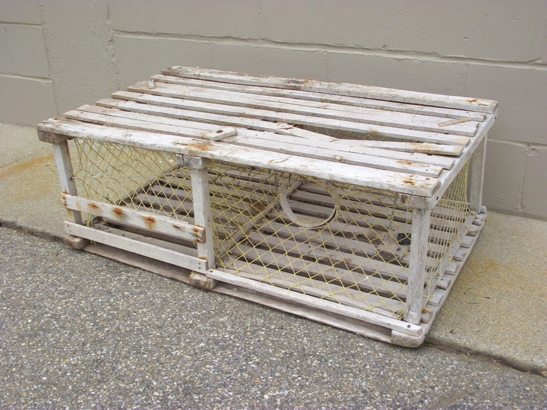 Phenomenal Old Wooden Lobster Trap Coffee Table Nautical Maine Beach Coastal Marine Decor Original Complete Marina Dock Table Rustic Ocean Sea 3 Andrewgaddart Wooden Chair Designs For Living Room Andrewgaddartcom