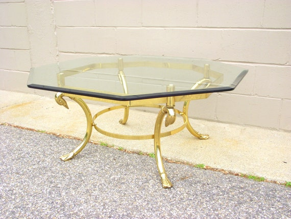 Labarge Brass SWAN Coffee Cocktail Table Beveled Glass Top Etsy - Hexagon cocktail table