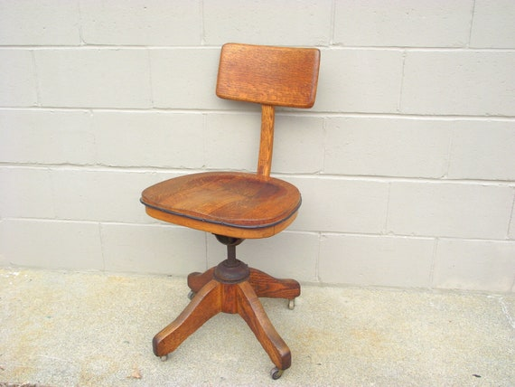 Antique Oak Office Desk Chair Industrial Wooden Mechanical Etsy