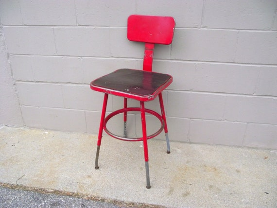 Wondrous Industrial Metal Stool Drafting Height Tall Adjustable Perfect For Kitchen Island With Back And Foot Ring Rest Contoured Seat Red Pabps2019 Chair Design Images Pabps2019Com