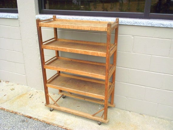 Antique Wood Bakers Pie Rack Shelf Industrial Mill Shoe Holder Rolling Rustic Farmhouse Primitive Country Chic Storage Pantry Bread