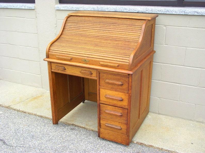 Fabulous Sale Antique Roll Top Wood Desk Solid Light Oak Petite 36 Writing Table Office Library Railroad Raised Panels Victorian Era Download Free Architecture Designs Embacsunscenecom