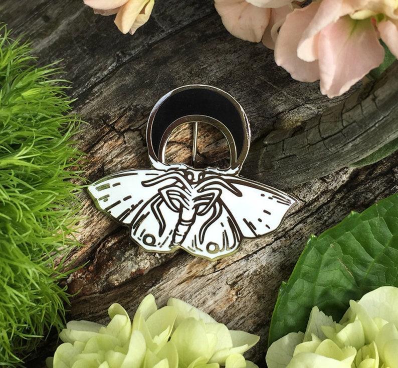 Moonlight Moth Cloisonné Brooch image 0