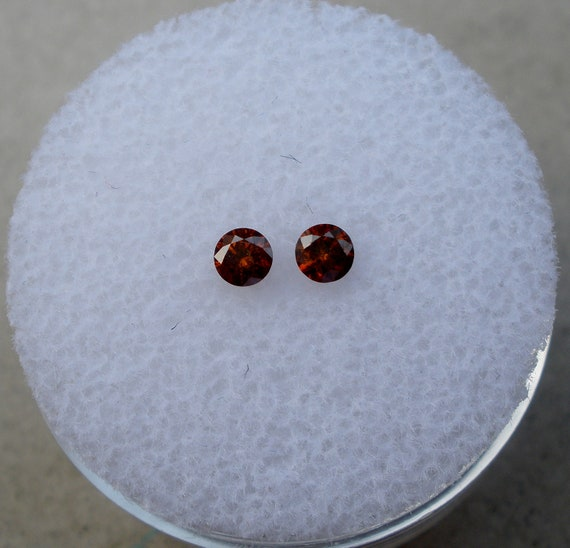 Cognac Red Natural Diamond Loose Faceted Round 3mm