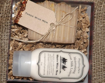 Three Wise Men- Goat Milk Soap & Lotion Christmas Gift Set with Box