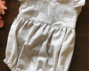 7b896efc854 Caitlyn bubble romper - beige linen baby girl romper with flutter sleeve  and large white monogram and wooden buttons