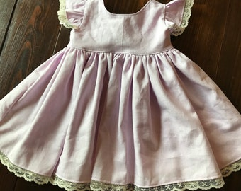 Hannah Dress - lavender linen blend and ivory lace trim baby girl's dress with gorgeous ivory bow back
