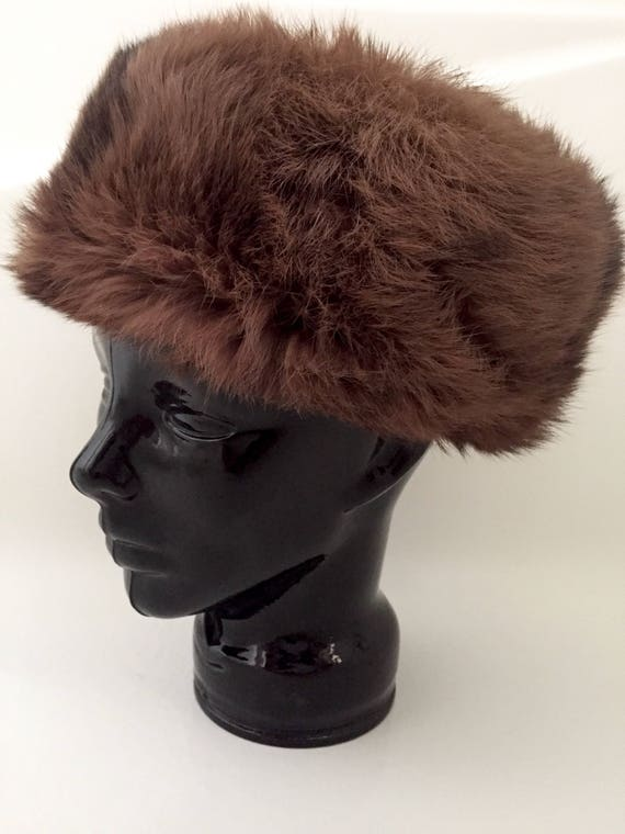 Real Fur Hat Brown Fur Winter Hat Womens Hat Vintage Hat  0d896ec582f