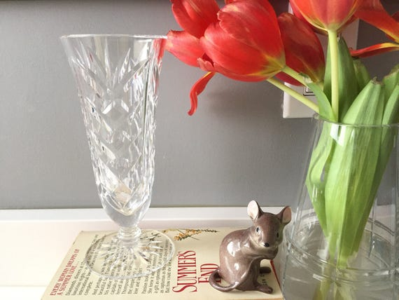 Etsy & Waterford Crystal Vase - Cut Crystal Vases - Bud Vase Waterford Vase Vintage Crystal Flower Vase - Glass Vase Rose Bowl Flower Frog Wedding