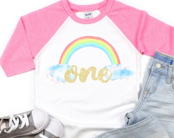 Rainbow Birthday Shirt Girls Party First