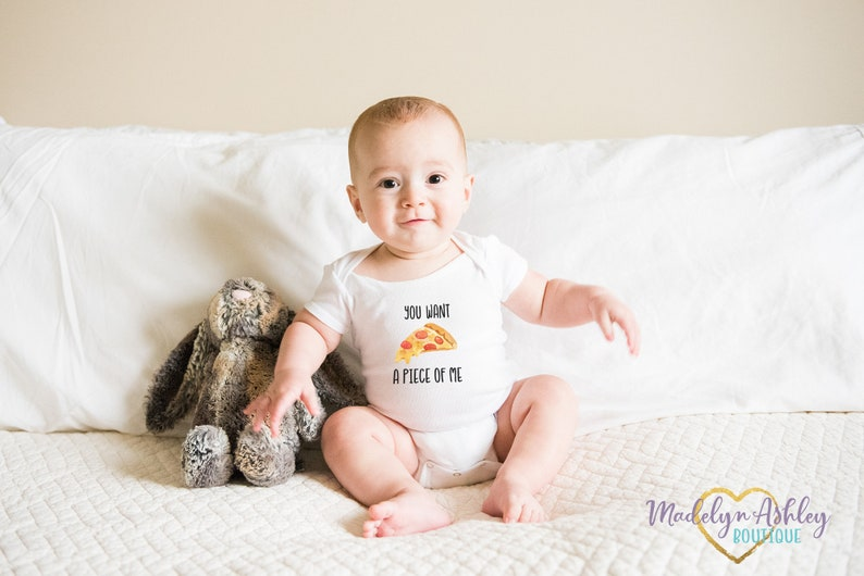 Funny Baby Onesie\u00ae You Want a Piece of Me Baby Onesie\u00ae Pizza Onesie\u00ae Baby Shower Gift Baby Clothes