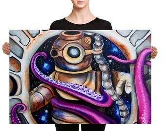 Space ship, tentacles, Canvas art, ufo, astronaut, scuba diver, kraken, surreal, pop art, fantasy, fun, steampunk, retro, vintage, art