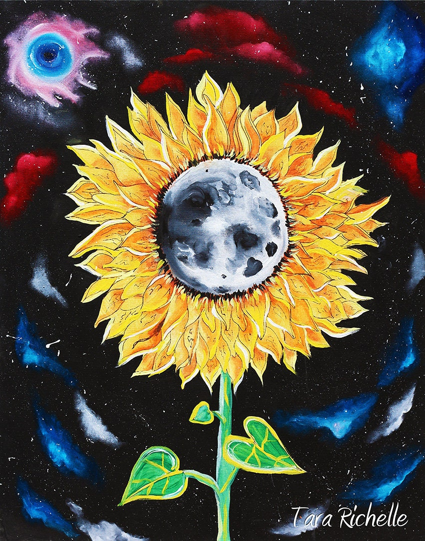 Moonflowers sunflower poster moon space galaxies stars   Etsy