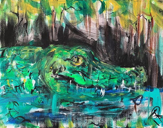 16 x 20 abstract acrylic painting Alligator Boots