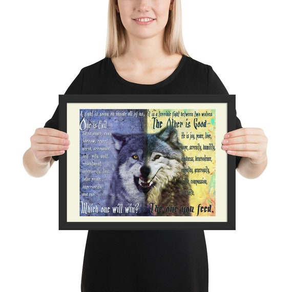 Eine Gerahmte Poster Zwei Wölfe Legende Cherokee Indianer Märchen Fabel Kampf Zwei Wölfe Ein Gut Zu Ernähren Eine Böse Kunst Geschenk