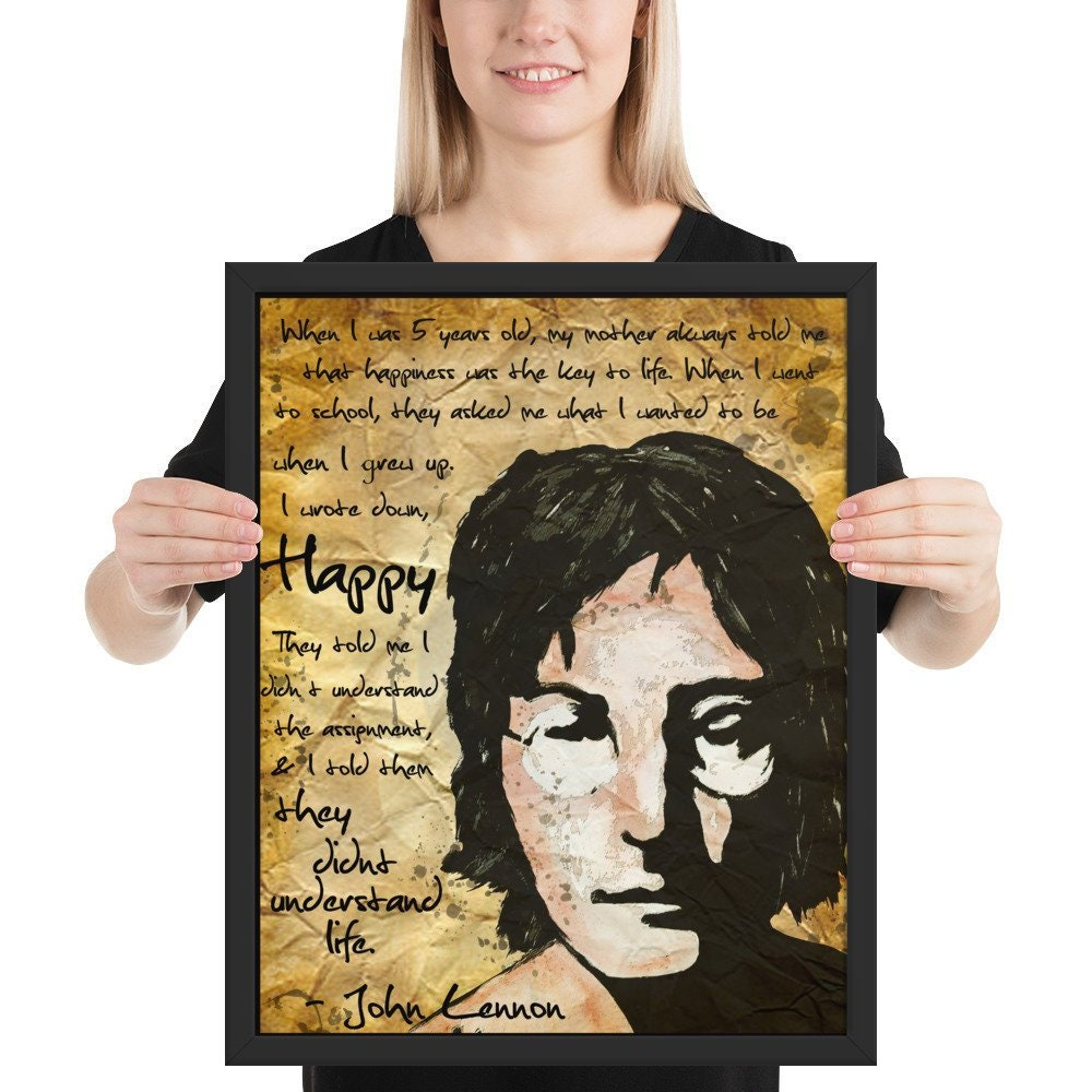 John Lennon Happiness Framed Poster Quote Meaning Of Life Etsy
