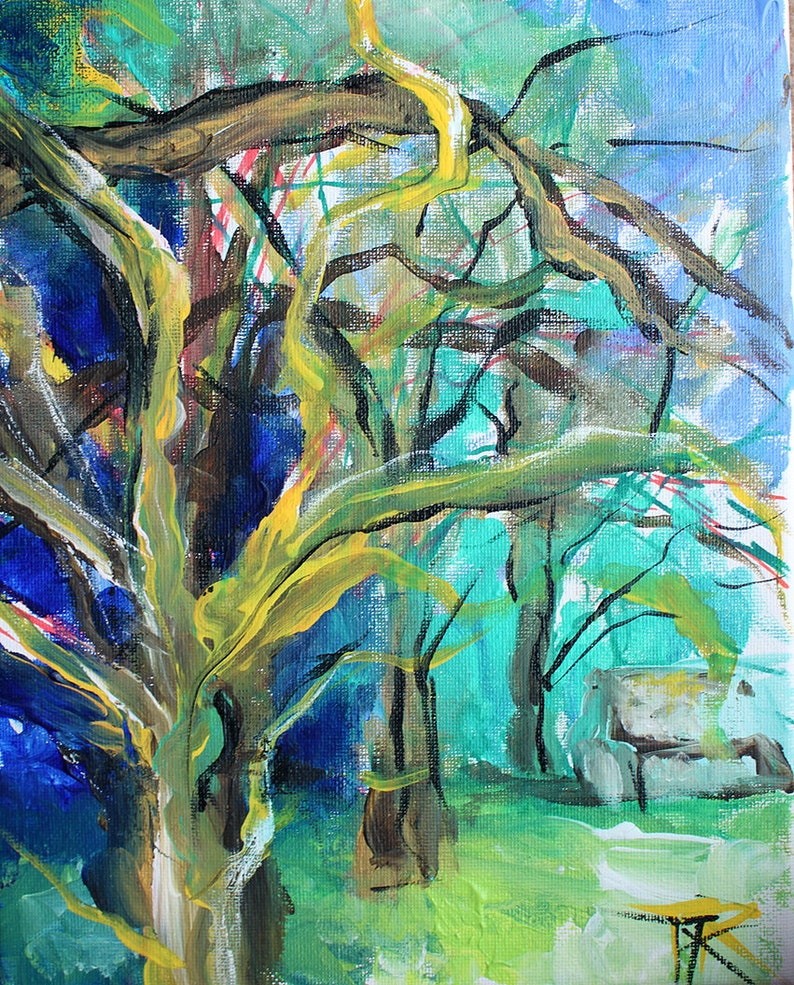 pastel colorful nature abstract wall art Diptych Original Plein air Tree Painting impressionist home decor Two pieces tree branches
