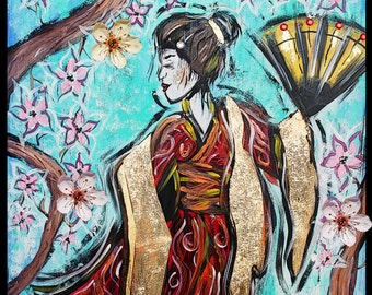Geisha in the cherry blossoms,japanese art,geisha painting,cherry blossoms,kimono,goldleaf,geisha poster,original art, memoirs of a geisha