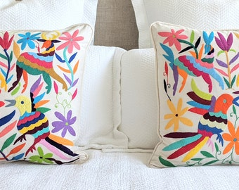 Made-to-Order / Custom Made: 2 Otomi Throw Pillow Covers Hand Embroidery Decorative Mexican Fabric in Multicolor