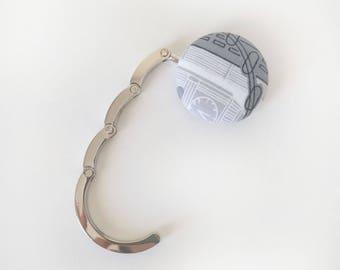Handbag Hook,  Purse Hook Hanger, Bag Hook,  Folding Purse Hanger in Black White Grey Travel Print