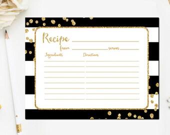 Bridal Shower Recipe Cards Black and Gold, Printable Black and Gold Bridal Shower Recipe Card, Gold Glitter, Instant Download BR45