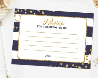 Navy and Gold Bridal Shower Advice for Bride Cards, Bridal Shower Games, Gold Glitter Confetti Navy Blue, Printable Instant Download BR13