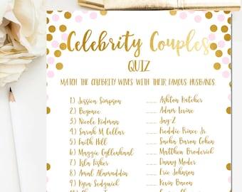 pink and gold foil bridal shower games celebrity couples quiz bridal shower game printable celebrity couples game instant download br21