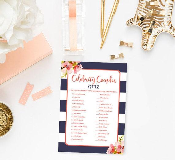 navy and coral bridal shower games celebrity couples quiz floral bridal shower game printable celebrity couples