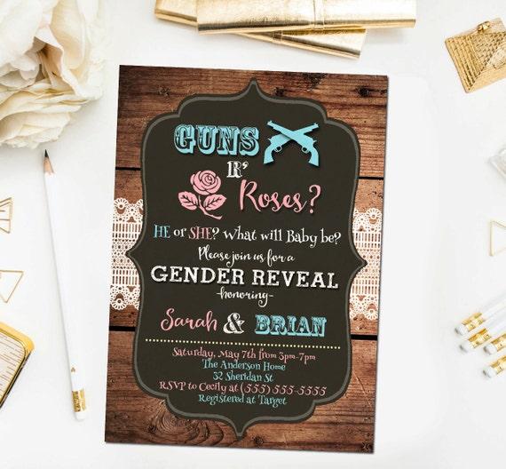 Guns or roses gender reveal invitation western baby shower etsy image 0 filmwisefo