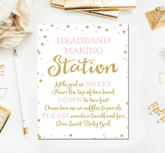 Headband Sign Headband Station Sign Headband Baby Shower Etsy