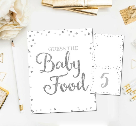 image relating to Baby Food Game Printable known as Youngster Shower Bet The Little one Food items Match, Printable Boy or girl Shower Video games, Bet The Boy or girl Foods Sport, Silver White Boy Shower, Immediate Obtain BB2
