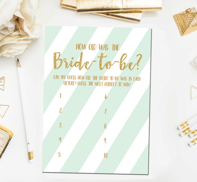 how old was the bride to be game printable mint and gold bridal shower games guess