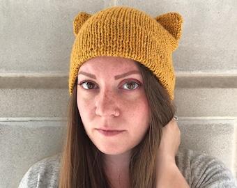Cat Ear Beanie - Double Brim Hat - Cat Ear Hat - Double Brim Cat Hat - Cat Lady - Women's Accessories - Mustard Yellow