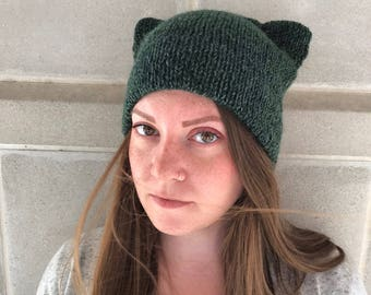 Cat Ear Hat - Double Brim Hat - Cat Ear Beanie - Double Brim Cat Hat - Cat Lady - Women's Accessories - Forest Green