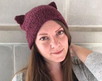 Double Brim Hat - Cat Hat - Cat Ear Beanie - Double Brim Cat Hat - Cat Lady - Women's Accessories - Purple