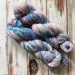 Superwash Merino Yarn, Hand Dyed Purple Speckled Yarn, Fingering Weight, Pastel Goth